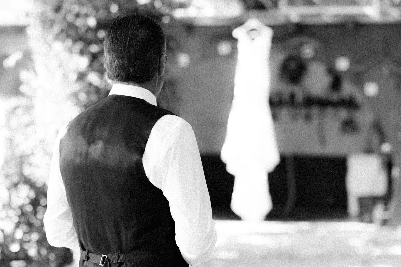 Fotografía de boda en La Rioja. El padre y el vestido de novia
